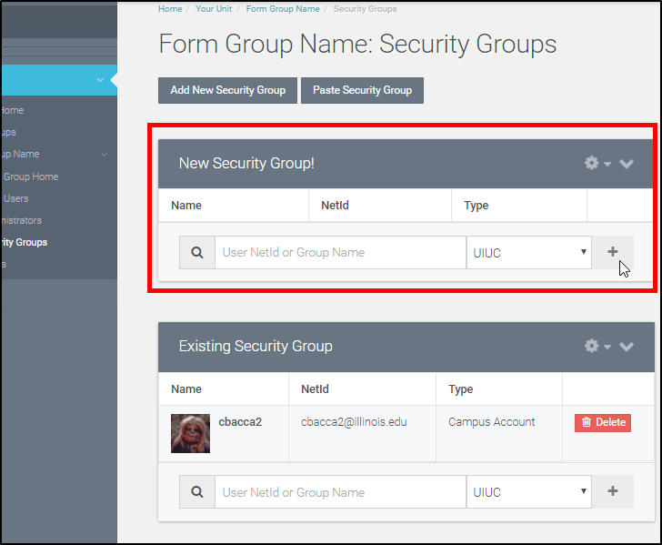 You can now add users to this Security Group