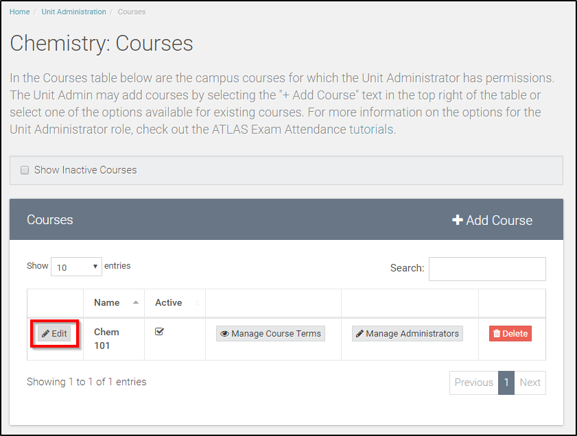 select 'edit' for desired course