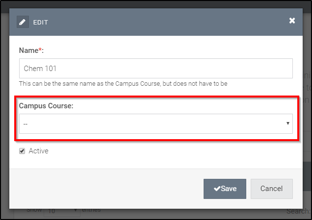 campus course selector is empty