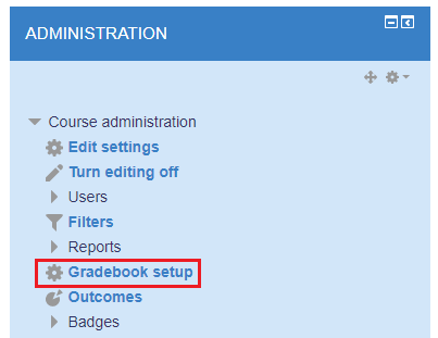Selecting gradebook setup