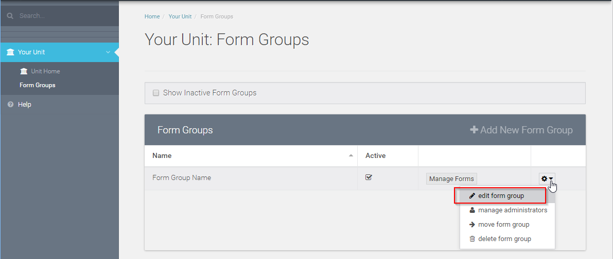 "To find(and add) testing email addresses click the gear on the far right side of your form group and select ""Edit form Group"""