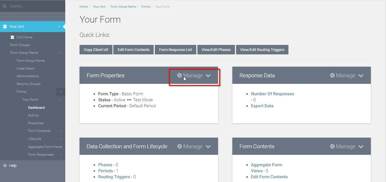 locate and click the manage button in the Form Properties box.