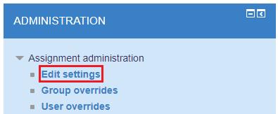 Assignment - Edit settings
