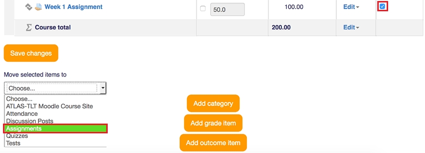 Move to assignment category in gradebook - checkbox
