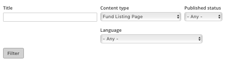 Fund Listing Filter