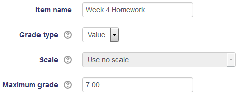 Naming the gradebook item