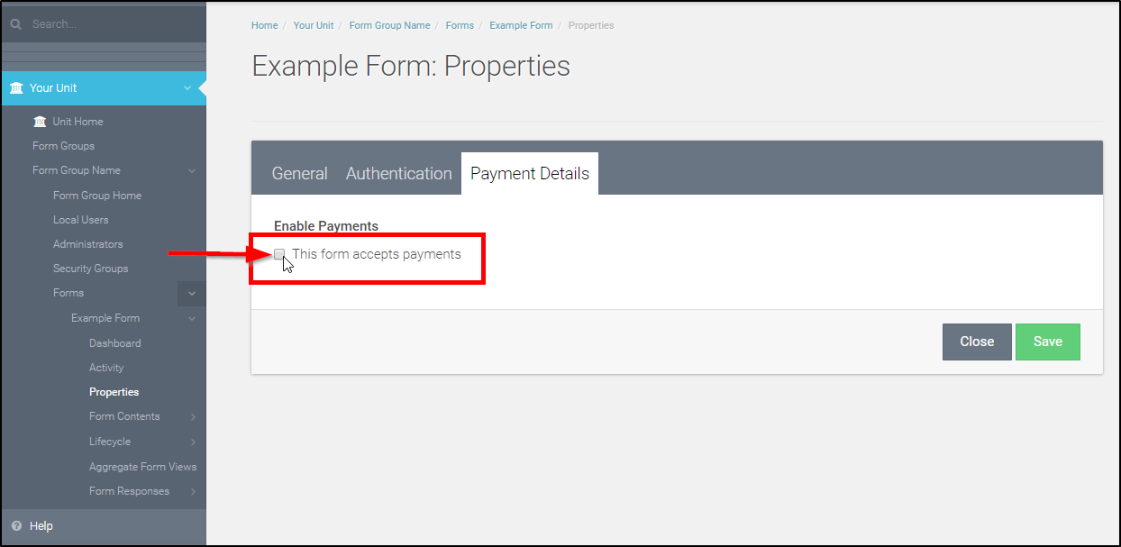 "Check the ""This form accepts payments"" box"