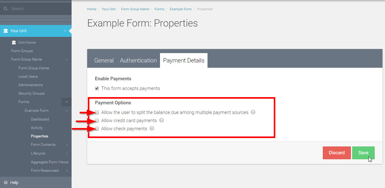 Choose what type of payment(s) this form will accept by checking the Payment Option box(es)