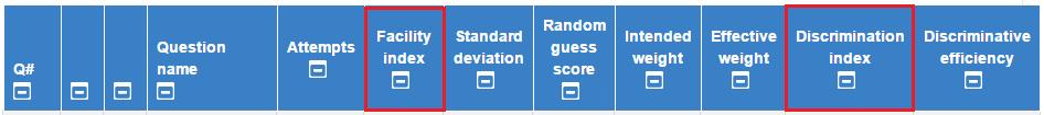 Quiz Statistics Table Header