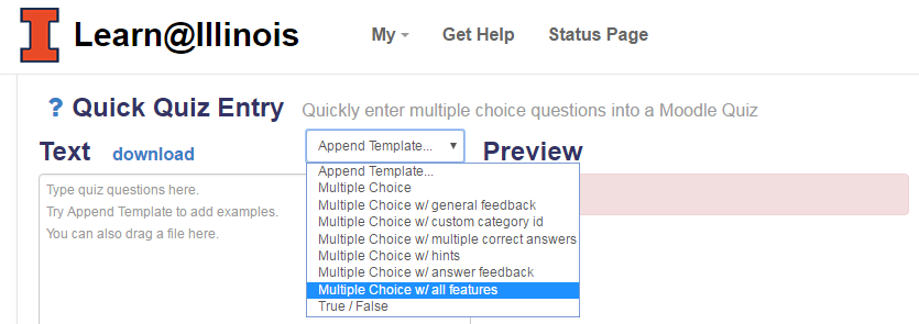 Multiple choice with all features