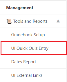 UI Quick Quiz Entry