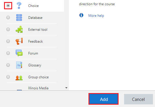 Add choice activity
