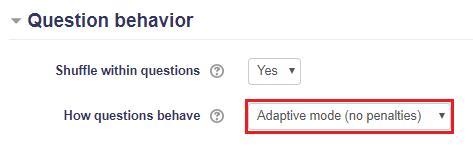 Question behavior Adaptive mode (no penalities)