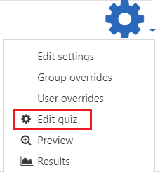 Select edit quiz