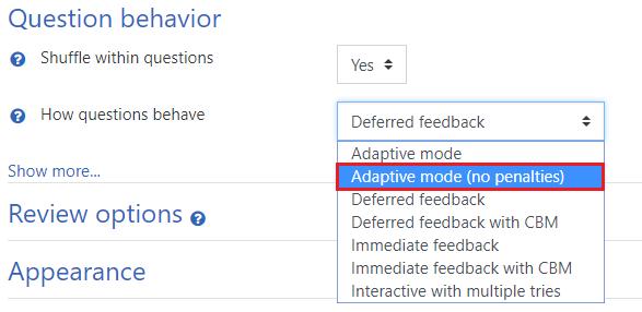 Addaptive mode (no penalties)