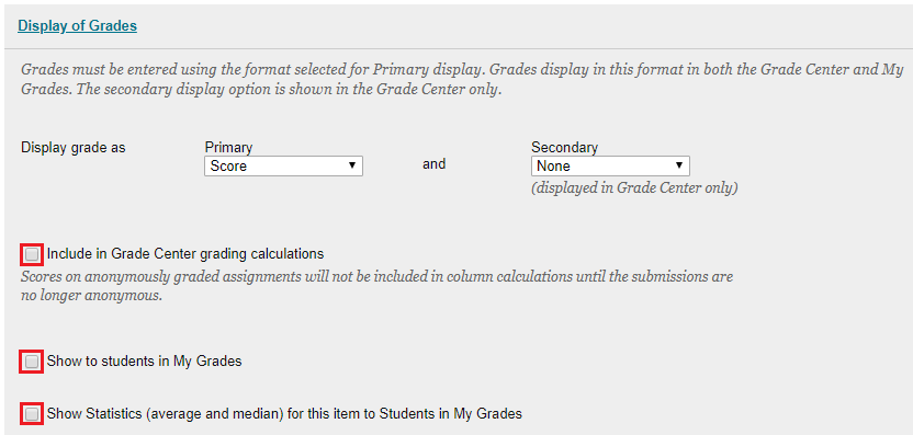 Display of Grades - uncheck boxes