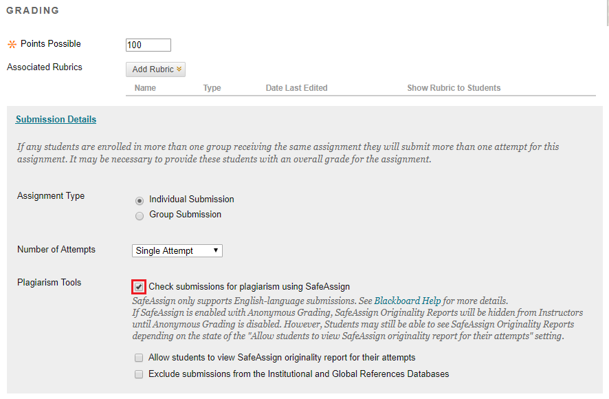 Check the checkbox to use SafeAssign