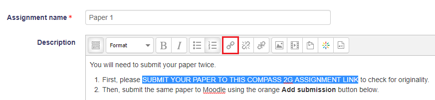 Moodle assignment explanation text screenshot