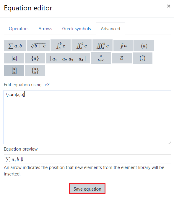 Equation editor pop-up