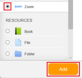 Select Zoom and click add