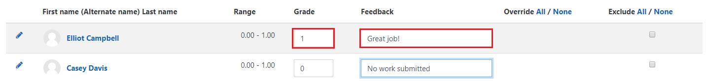 Enter grades and feedback