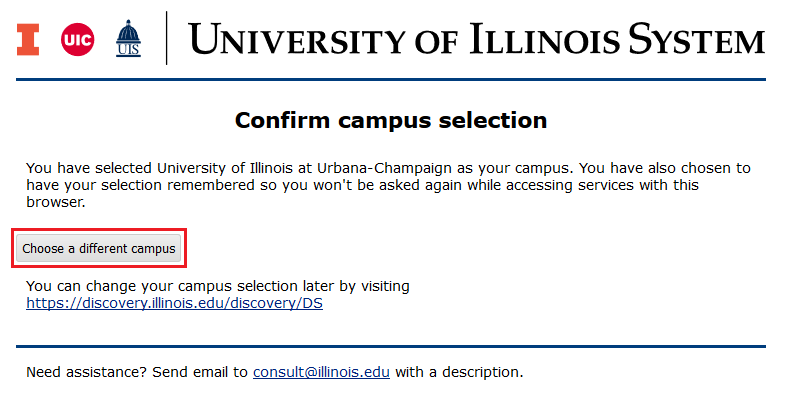 Confirm campus selection screen