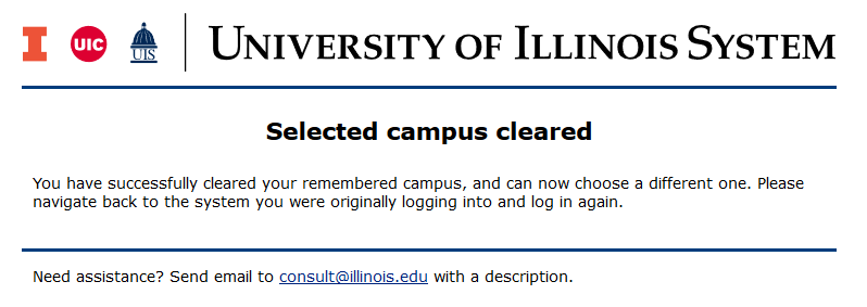Selected campus cleared screen