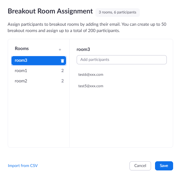 Confirming breakout rooms