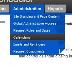 Hover over 'Administration', click 'Calendars'
