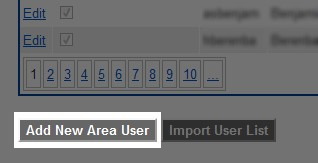 Click the 'Add New Area User' button to the right of the 'Import User List' button