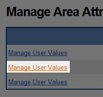 Click the 'Manage User Values' text in the left most portion of the table