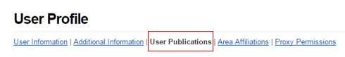 Click the 'User Publications' link, located to the right of the 'Additional Information' link
