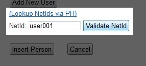 After typing in a NetId, click 'Validate NetId'