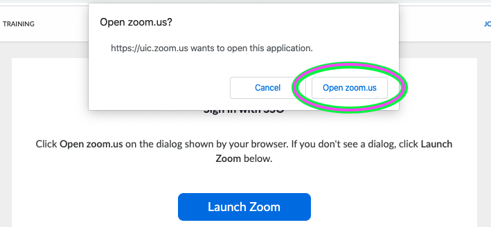 Permission to open Zoom after Bluestem Authentication