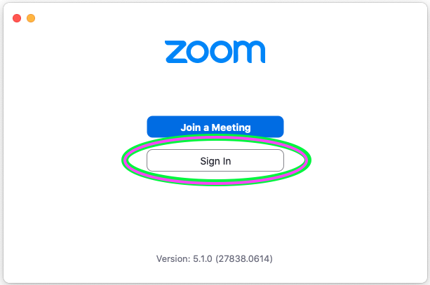 Zoom Local Client initial screen