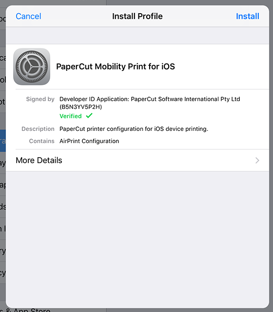 Installing the PaperCut Mobility Print for iOS profile