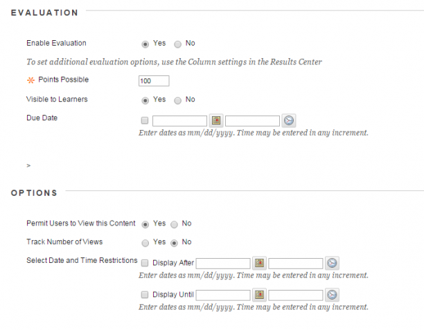 Screenshot of Evaluation and Options options in the Echo360 portal.