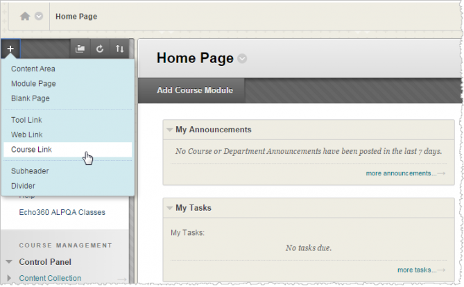 Screenshot of a pointer hovering over Course Link in Blackboard.