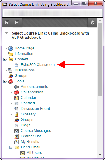 Screenshot of Echo360 Classroom link in the Select Course Link dialogue.