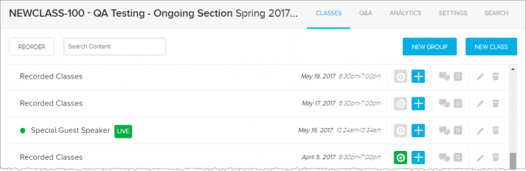Example of Instructor class list