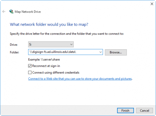 Map Network Drive dialog filled out with Digital Signage S: drive infomation